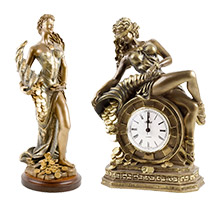 Статуэтки, часы