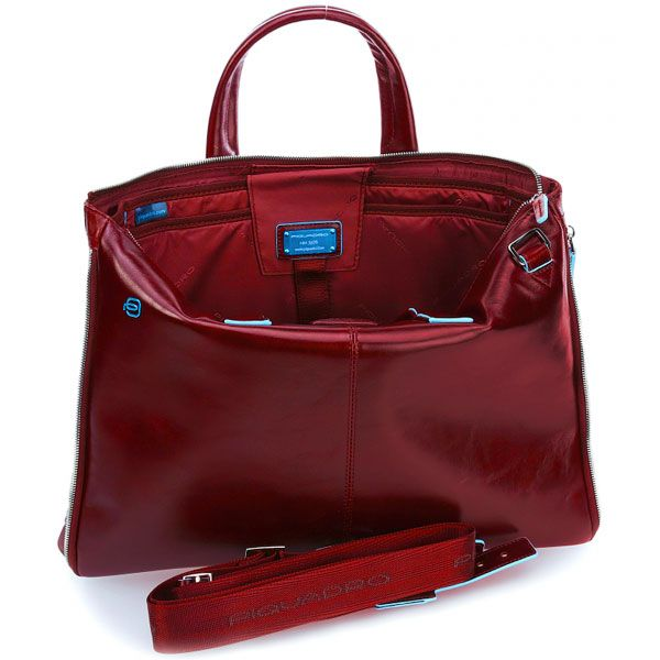 CA4021B2/R Сумка для ноутбука Piquadro Blue Square 42x31x3(10) см  красн.натур.кожа