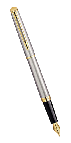 S0920310 Ручка перьевая Waterman Hemisphere Steel GT, перо позолота 23К