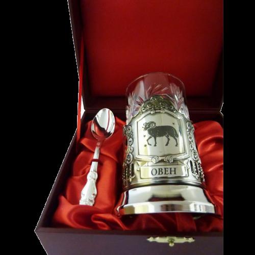 """Подарочный набор для чая """"Овен"""" (подстаканник, хрустстакан и ложка в футляре) - 207-ПД"""