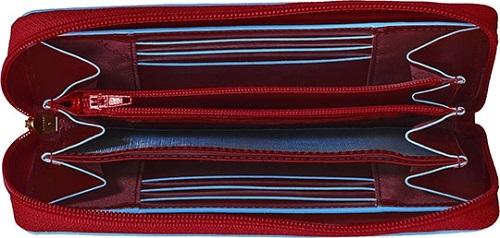 PD3229B2/R Кошелёк женский Piquadro Blue Square красный натур.кожа 18х9,5х2,5см