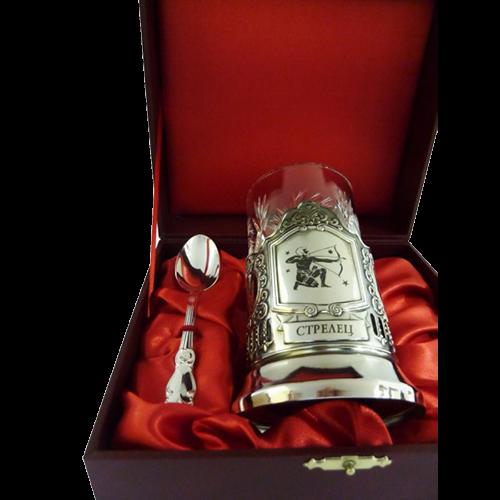 """Подарочный набор для чая """"Стрелец"""" (подстаканник, хрустстакан и ложка в футляре) - 215-ПД"""