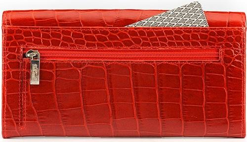 DM-P015-KR17 Портмоне с отделением для карт Croco красный лак